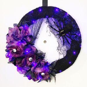 Handcrafted LED Halloween roses door wreath